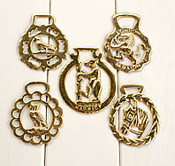 Латунные медальоны для конской сбруи, винтаж, латунь, Англия, фото 1
