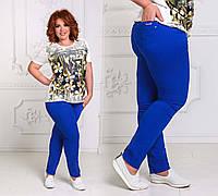 Женские летние стильные джинсы в больших размерах 4655