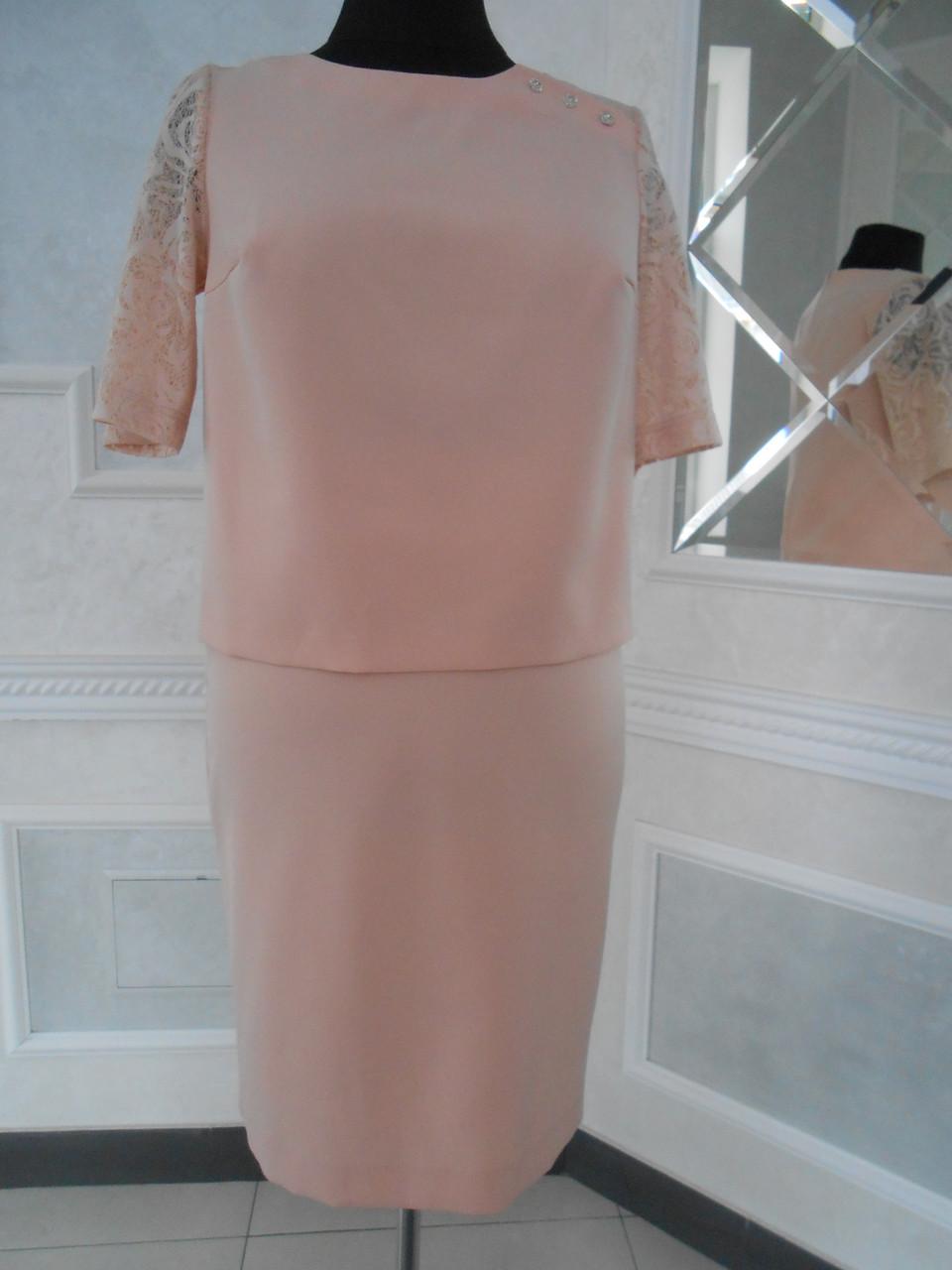 Костюм женский летний юбочный цвета пудры большого размера 52
