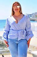 """Элегантная женская блуза в больших размерах 048 """"Коттон Полоска Запах Фонарик"""""""