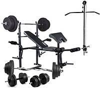 Скамья для жима с тягой и партой Cкотта Trex 1020 + Набор W-гриф+Штанга+Гантели 90 кг комплект, фото 1