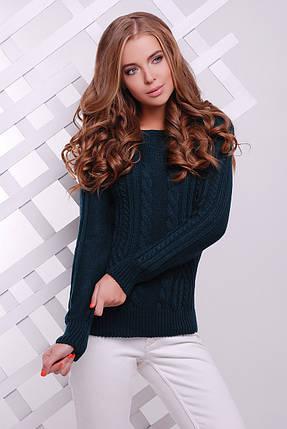 Зручний однотонний светр прямого силуету з якісної м'якої пряжі, фото 2