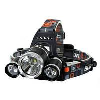 Мощнейший налобный тройной фонарик T6, фото 1