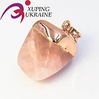 Подвеска позолота Розовый искусственный нефрит