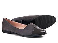 Балетки серые с черным носком