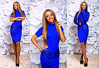 """Элегантный женский комплект платье + болеро 232 """"Трикотаж Косичка Кожа"""" в расцветках"""