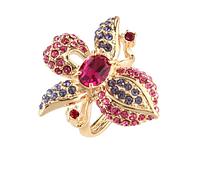 """Кольцо """"Дендробиум"""" с кристаллами Swarovski, покрытое золотом (j108p070)"""