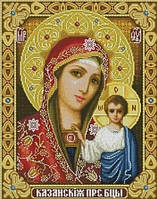 Алмазная вышивка Казанская икона 34 х 24 см (арт. PR618) частичная выкладка