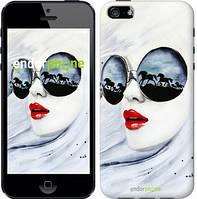 """Чехол на iPhone 5s Девушка акварелью """"2829c-21"""""""