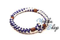 Вервица. Православные четки-браслет 30 узелков синие с белым