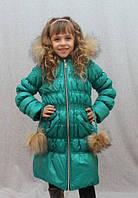 Пальто зимнее для девочки с мехом