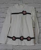 Платье трикотажное для девочки белого цвета 4-11 лет