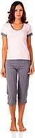 Бавовняна жіноча піжама (футболка і бриджі) 0127/130, фото 1