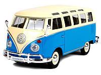Автомодель 1:25 Volkswagen Van Samba сине-кремовый Maisto (31956 blue-сream), фото 1