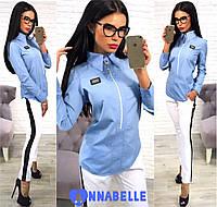 Рубашка женская с длинным рукавом, Материал: коттон Цвета: белый, тёмно-синий,голубо,супер качество аанд №1006