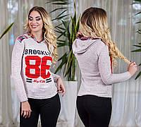 """Женский стильный утеплённый батник с капюшоном 3832 """"BROOKLYN - 86"""""""