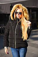 """Женская зимняя куртка на синтепоне 8088 """"Капюшон Мех"""" в расцветках"""