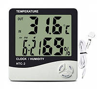 Цифровой термометр-гигрометр HTC-2 с выносным датчиком, часами и будильником
