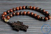 Православные четки из обсидиана с резным крестом