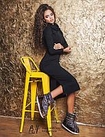 """Элегантное женское платье средней длины """"Резинка Гольф Миди Разрезы"""" в расцветках"""