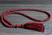 Вервица. Православные четки 100 узелков бордовые