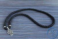 Брояница. Православные четки-ожерелье 100 узелков черные с крестом 3
