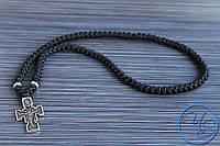 Брояница. Православные четки-ожерелье 100 узелков черные с крестом 1