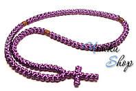 Брояница. Православные четки-ожерелье 100 узелков сиреневые