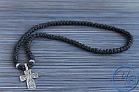 Брояница. Православные четки-ожерелье 100 узелков черные с крестом 2