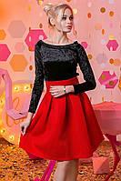 """Элегантное нарядное женское платье средней длины 2-973 """"Бархат Неопрен Гипюр"""""""