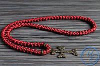 Брояница 100 узелков. Православные плетеные четки бордовые