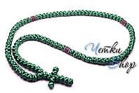 Брояница. Православные четки-ожерелье 100 узелков зеленые