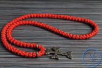 Брояница 100 узелков. Православные плетеные четки красные