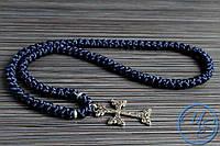 Брояница 100 узелков. Православные плетеные четки темно-синие