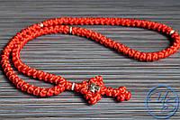 Брояница 100 узелков. Православные нательные четки красные