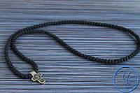 Брояница. Православные четки-ожерелье 150 узелков черные с крестом