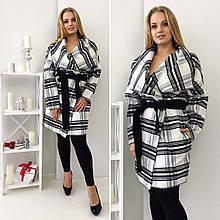"""Женское стильное пальто-кардиган в больших размерах 354 """"Клетка Японка"""" в расцветках"""