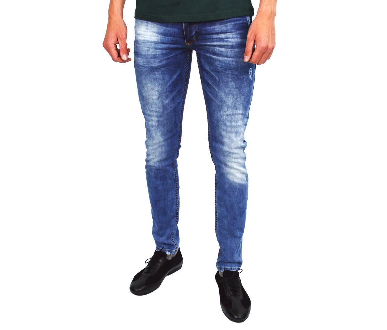 b2cbe58b10e Синие мужские джинсы зауженные MARIO DENIM -