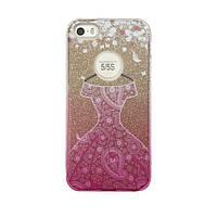 Чехол силиконовый Mask Collection Платье розовое в золоте для iPhone 5s