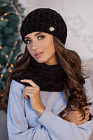 Зимний женский комплект «Эустома» (шапка и шарф-хомут) Терракотовый
