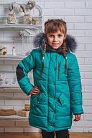 Пальто для девочки на синтепоне с мехом