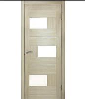 Двери МДФ ламинированные ПВХ Куб со стеклом сатин Дуб беленый