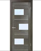 Двери МДФ ламинированные ПВХ Куб со стеклом сатин Мокко