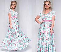 """Элегантное длинное женское платье в больших размерах 2047 """"Шёлк Цветы Макси Пояс Контраст"""" в расцветках"""