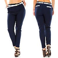 """Женские стильные брюки в больших размерах 5016 """"Креп Кружево Пояс"""" в расцветках"""