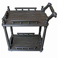 Столик сервировочный на колесиках коричневый
