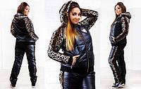 """Тёплый женский спортивный костюм на синтепоне в больших размерах 5014 """"Roberto Cavalli Leo"""""""