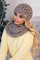 Зимний женский комплект «Эустома» (шапка и шарф-хомут) Темный кофе