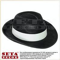 Прокат. Чёрная шляпа Гангстер с белой лентой текстиль карнавальная