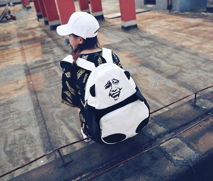 Большой тканевый рюкзак Панда с мемом гримасой